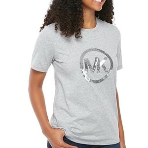 • michael kors sequin logo heather gray tee •